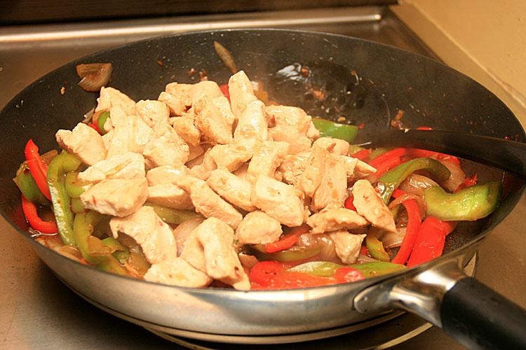 11. Put chicken back and stir it.